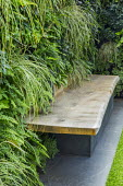 Living green wall with timber built-in bench, Polypodium vulgare, Carex oshimensis 'Evergold'