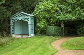 Green painted arbour