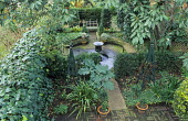Formal courtyard garden, fountain and pond, acanthus