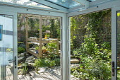 View from inside conservatory to courtyard garden outside, timber framed pavilion, built-in benches, stone path, timber decking, small pond