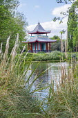Chinese Pagoda by canal in Victoria Park, London