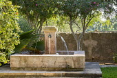 Water fountains in mediterranean garden