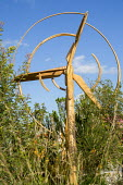 Wind turbine wooden sculpture