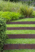 Grass steps with cor-ten steel risers, Hakonechloa macra, Anemanthele lessoniana syn. Stipa arundinacea