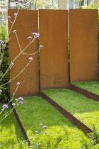 Grass steps with cor-ten steel risers, cor-ten steel wall, Verbena bonariensis