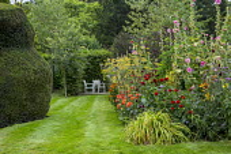 Dahlia 'Natal', Dahlia 'Gold Nugget', alcea, Foeniculum vulgare, Dipsacus fullonum, chairs on patio