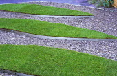 Raised strips of lawn, slate chippings