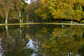 View towards 'La Cascade francaise' (The French Cascade) across lake, reflections
