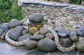 Stones and rope on terrace