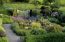 Rose garden, wooden gate, lavender edging