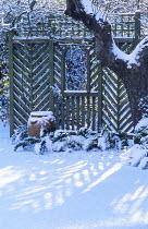 Shadows cast by trellis on snow