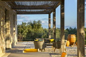 Mediterranean verandah, table and chairs on terrace