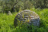 Cairn stone sculptures in wildflower meadow, land art