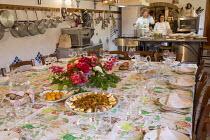Table laid for diner, flower arrangement, egg and artichoke salad