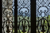 View from inside through decorative screen to Corfu landscape outside