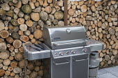 Outdoor cooking range on patio by cut log wall