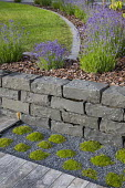 Dry-stone wall, lavender in border around stone-edged lawn, mowing strip, bark and stone mulch