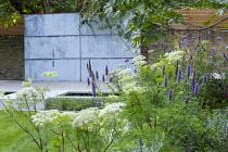 Agastache 'Blackadder', Selinum wallichianum, Verbena bonariensis, zinc coated galvanised steel wall panel