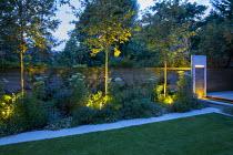 Mowing strip, Selinum wallichianum, Trachelospermum jasminoides climbing on wooden fence, uplit Amelanchier 'Robin Hill', water wall, Erigeron karvinskianus