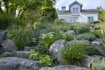 Contemporary rock garden, Echinacea purpurea 'White Swan', Miscanthus sinensis 'Gracillimus', Pennisetum villosum