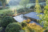 Square deck overhanging formal raised pebble pools, clipped yew mounds, Carex testacea