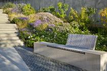 Built-in wooden bench, Rosa 'Apfelblüte', Sesleria autumnalis, Aster dumosus 'Zwergenhimmel', Aster trifoliatus subsp. ageratoides 'Asran', stone steps and paving, Stephanandra Incisa 'Crispa'