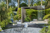 Metal table and chairs on poured concrete patio, Kalanchoe tomentosa in pot, Dicksonia antarctica, Fatsia japonica, contemporary pavilion, Cordyline australis