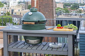 Outdoor kitchen on London roof terrace, barbecue grill