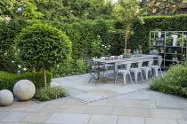 Table and chairs on York stone patio, Prunus lusitanica 'Angustifolia' standard lollipop tree, low clipped box hedge, pots on shelves, roses, Erigeron karvinskianus, Sorbus cashmiriana