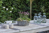 Glass vases and container on wooden table