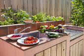 Outdoor kitchen and grill, wooden fence, herbs in raised bed, storage cupboards