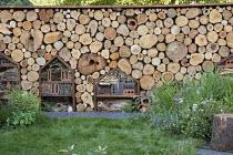Cut log wall, insect and bug hotels, wildlife habitats