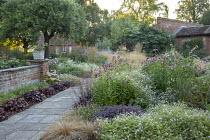Penstemon 'Raven', Geranium 'Dreamland', Echinacea purpurea 'Magnus', Heuchera 'Plum Pudding' edging path, hylotelephium syn. sedum