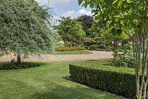 Low clipped box hedge, gravel driveway turning circle, Prunus 'Shirotae', Pyrus salicifolia 'Pendula'