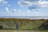 View to beach, contemporary fence