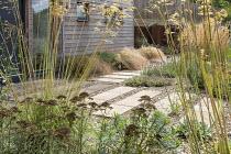 Stepping stone path across gravel, Stipa gigantea, Calamagrostis × acutiflora 'Karl Foerster', Verbena bonariensis, Anemanthele lessoniana, Lavandula angustifolia 'Hidcote', Achillea 'Martina'