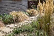 Stepping stone path across gravel, Calamagrostis × acutiflora 'Karl Foerster', Verbena bonariensis, Anemanthele lessoniana, Lavandula angustifolia 'Hidcote', euphorbia