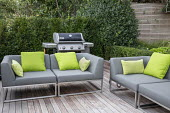 Outdoor sofas with cushions on patio, outdoor grill, yew hedge