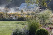 Dew on grass, Nepeta racemosa 'Walker's Low', Hebe rakaiensis