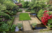 Overview of garden, lawn, gravel, brick edging, box edged borders, pools
