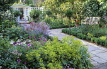 Brick paving, beds with box edging, Alchemilla mollis, Geranium psilostemon, allium, standard bay trees, paved path, summerhouse, bench