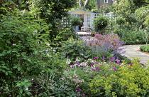 Brick paving, beds with box edging, Alchemilla mollis, Geranium psilostemon, allium, standard bay trees, paved path, summerhouse