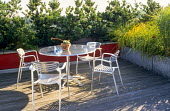 Roof terrace, aluminium metal table and chairs, grasses in galvanized containers, conifers, red painted wall