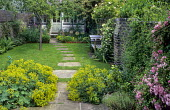 Alchemilla mollis, stepping stone path across lawn leading to summerhouse, wooden bench by Gaze Burvill, roses and Trachelospermum jasminoides climbing on wall