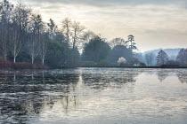 View across frozen lake