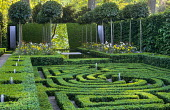 Spiral box parterre, canal, mirror, standard trained lollipop bay trees