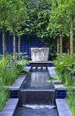 Venetian stone well-head, formal canal, pleached limes, Iris sibirica, blue ceramic tiles