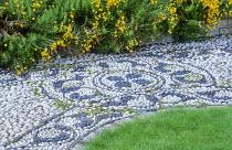 Pebble mosaic by Michael Gough, Santolina rosmarinifolia subsp. rosmarinifolia