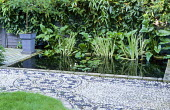 Rectangular pond, tile edging by Delphina Bottacini, pebble mosaic by Michael Gough, water lilies, variegated iris