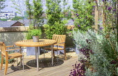 Table and chairs on roof terrace, decking, Helichrysum italicum, Verbena bonariensis, bamboo in containers